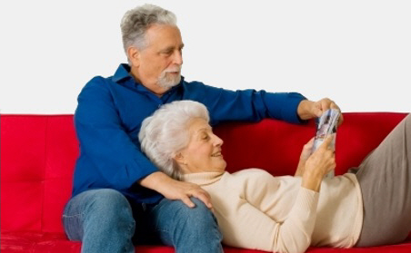 FDP older couple on couch