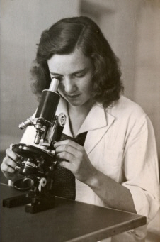 girl with microscope