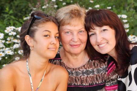 Granddaughter, grandmother, and mother