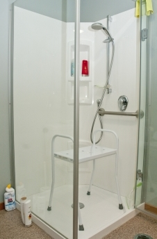 Shower stool in a shower